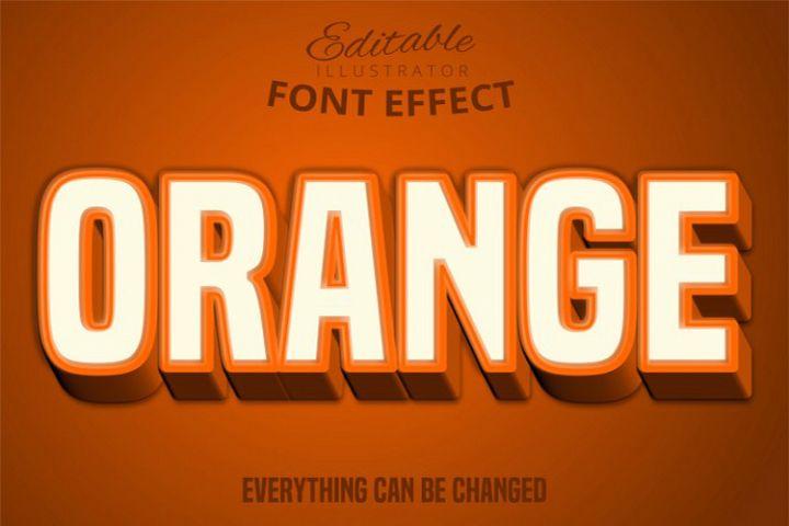 Orange text, editable text effect
