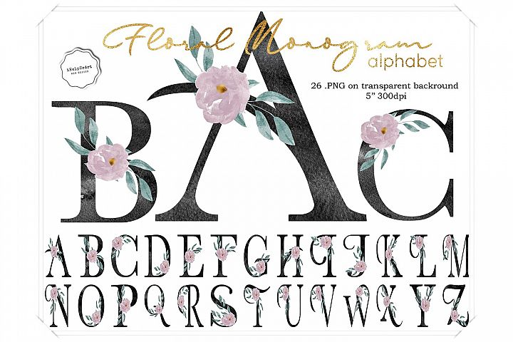 Watercolor Floral Monogram Letters
