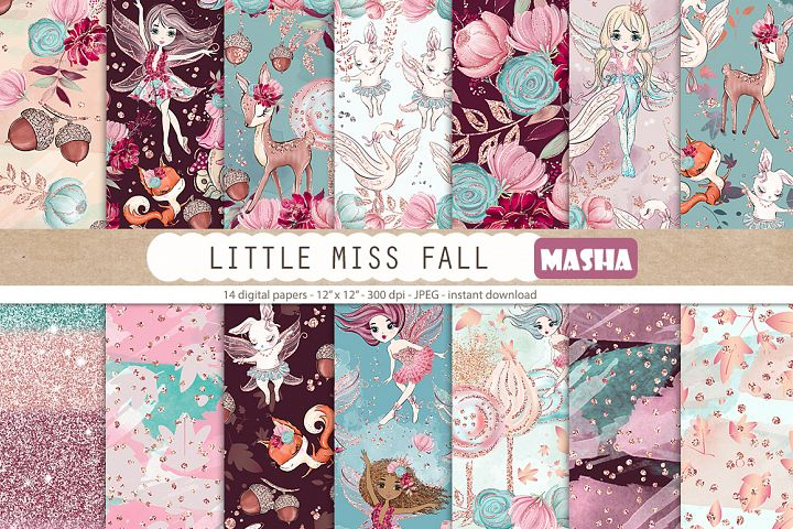 LITTLE MISS FALL Digital Papers