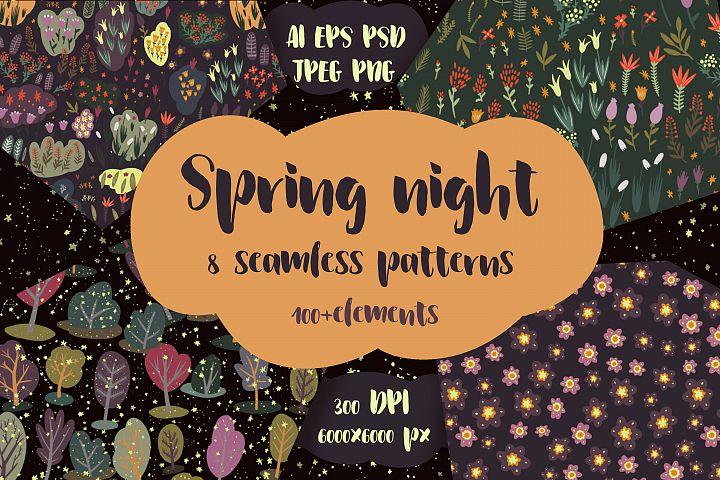 Spring night - patterns and elements