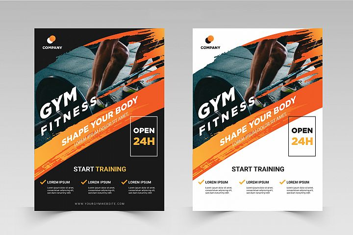 Fitness Flyer template with grunge shapes. Part 2