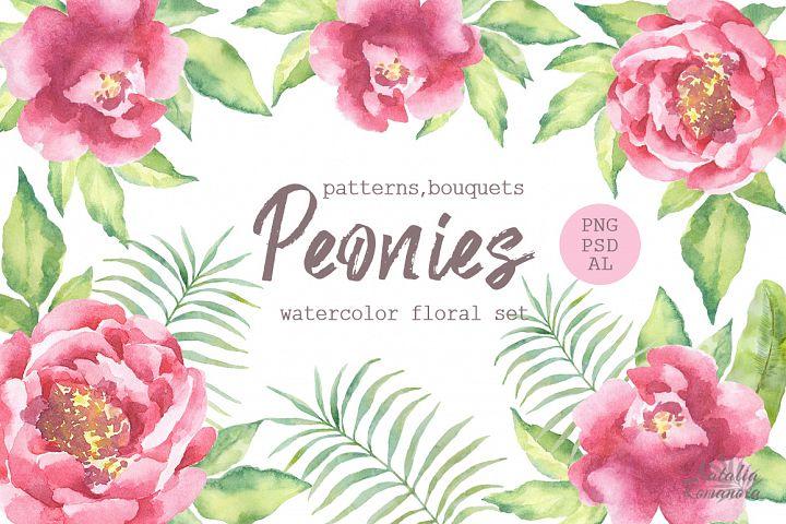 Watercolor Peonies set - Free Design of The Week Font