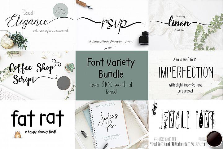 Font Bundle Variety of Script Serif and Fun