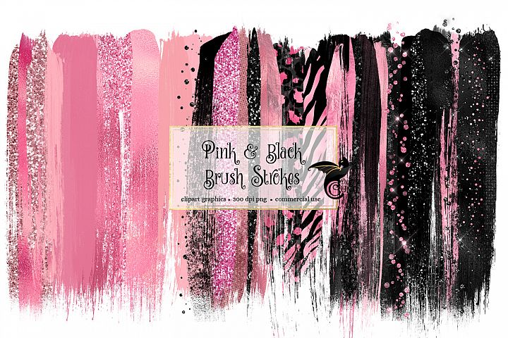 Pink and Black Brush Strokes Clipart