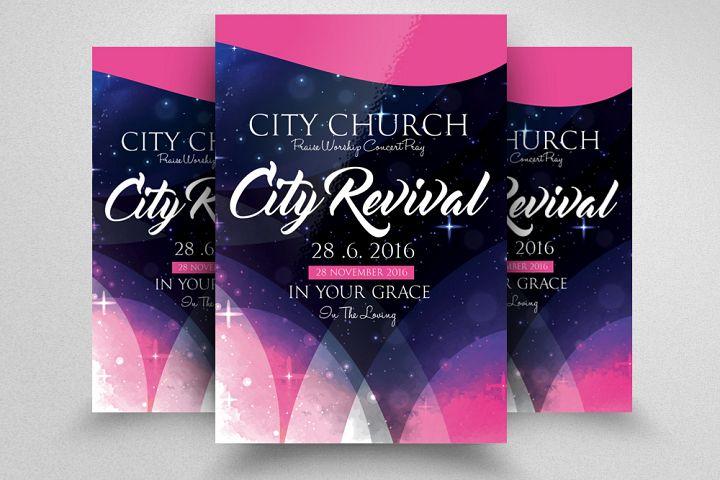City Revival Church Flyer Template