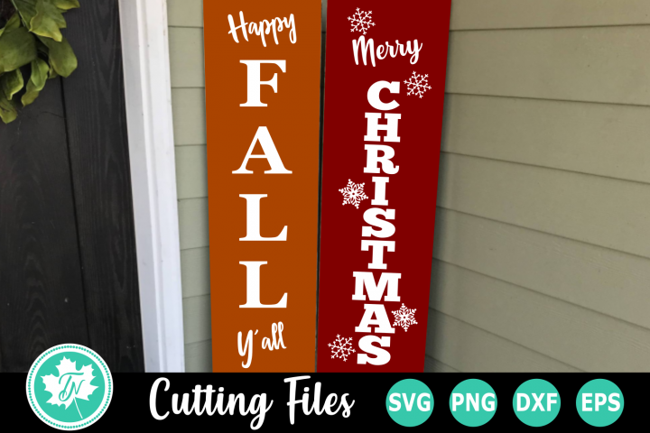 Happy Fall and Merry Christmas Signs - A Fall SVG Cut File