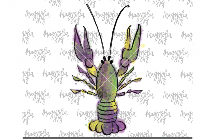 Mardi Gras Crawfish Graphic for Sublimation - PNG & JPEG
