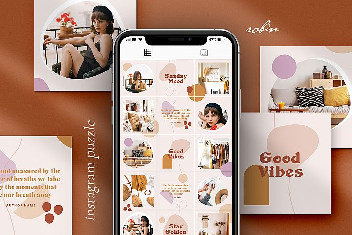 Robin Instagram puzzle template for Canva