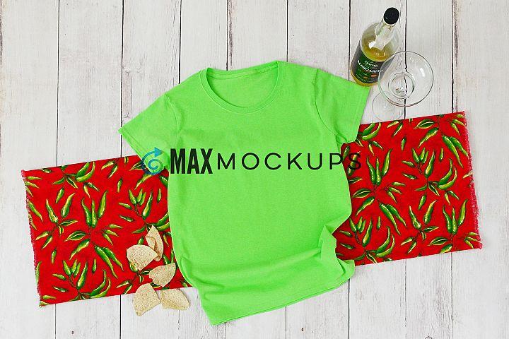 Green shirt mockup women Cinco de Mayo May 5 flatlay styled