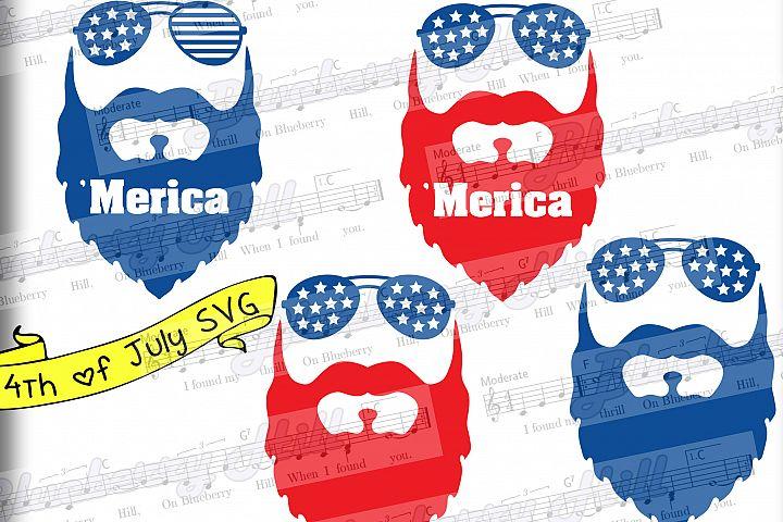 Beard svg - Merica svg - Glasses svg - Patriotic svg