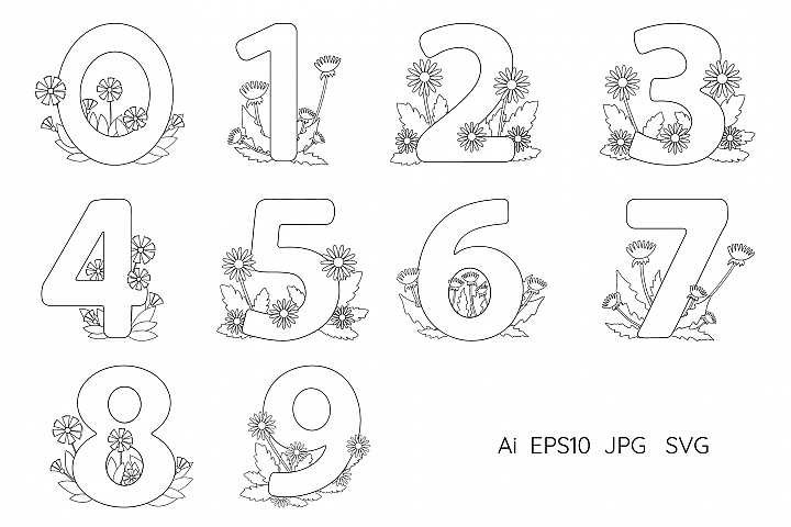 Numbers from 0 to 9. Coloring pages.