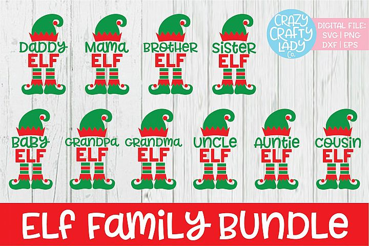 Elf Family Christmas SVG DXF EPS PNG Cut File Bundle