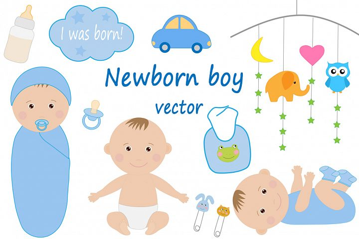 Cute newborn kids boy vector drawing
