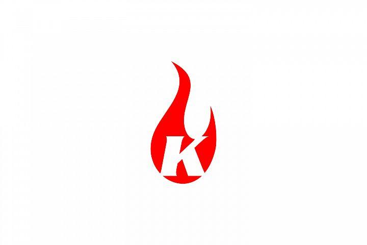 k letter flame logo