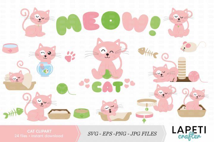 Cute cat clipart set