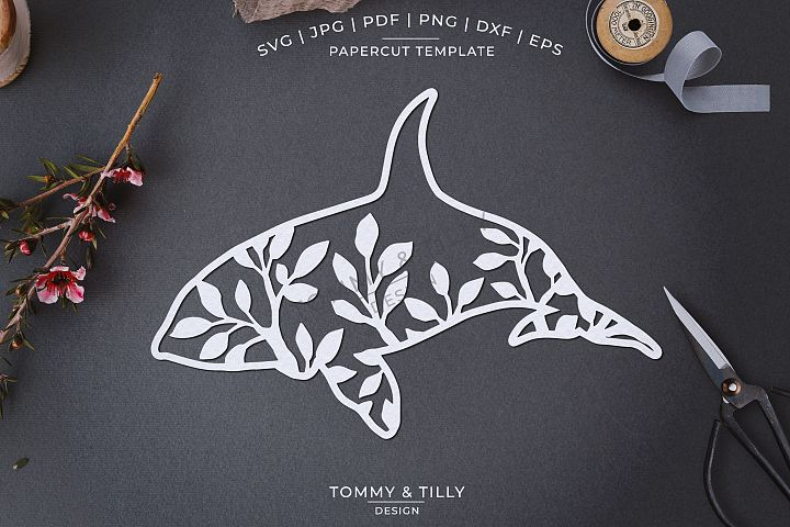 Foliage Orca x 3 - Papercut Template SVG EPS DXF PNG