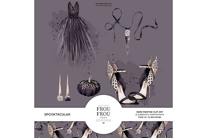 Halloween Fashion Black Dress Gold Jewelry Clip Art