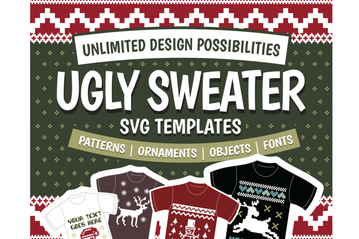 Ugly Sweater SVG Template Vol. 2 in SVG, DXF, EPS