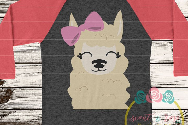 Llama with Bow SVG DXF PNG