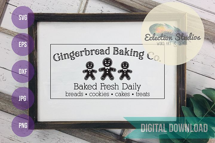 Gingerbread Baking Co SVG, Traditional Christmas sign SVG