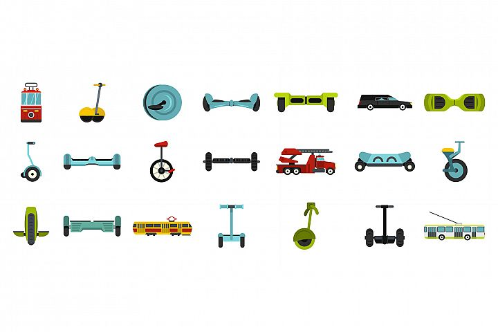 City transport icon set, flat style