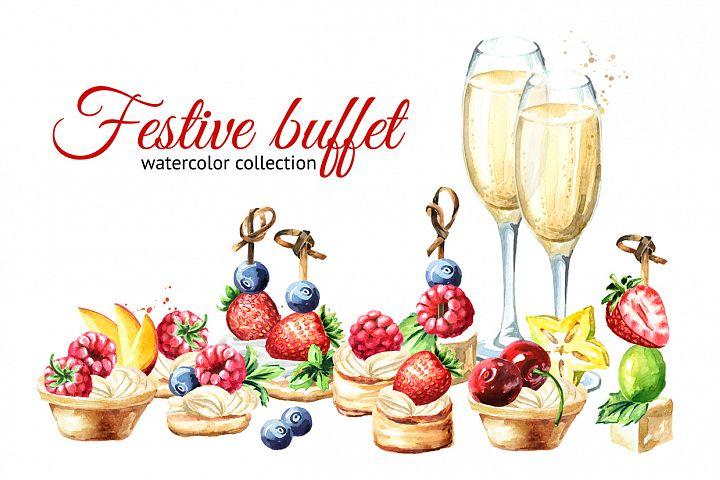 Festive buffet. Watercolor set