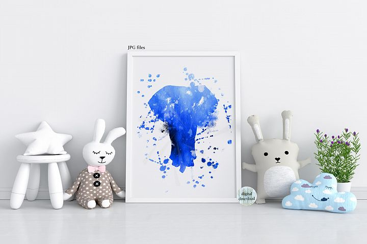 Blue Elephant wall art abstract animal painting printable
