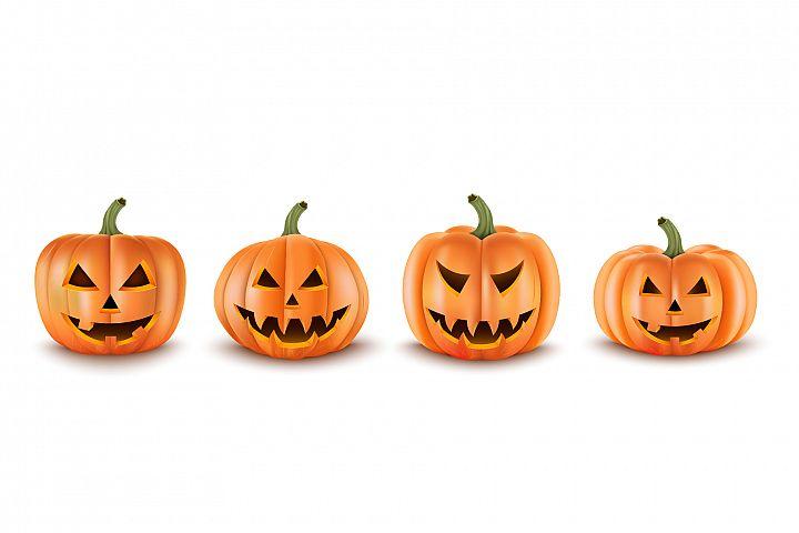 Halloween Pumpkins Set. Realistic Vector