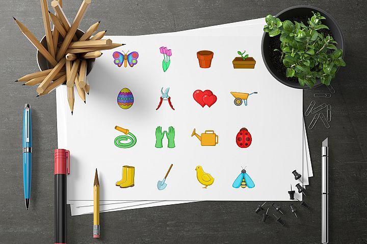 Spring icons set, cartoon style example 3