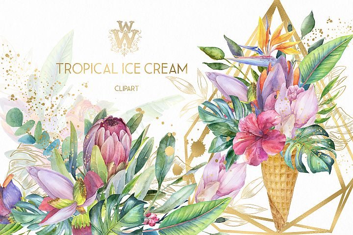 Watercolor summer tropical flower clipart, floral Ice Cream
