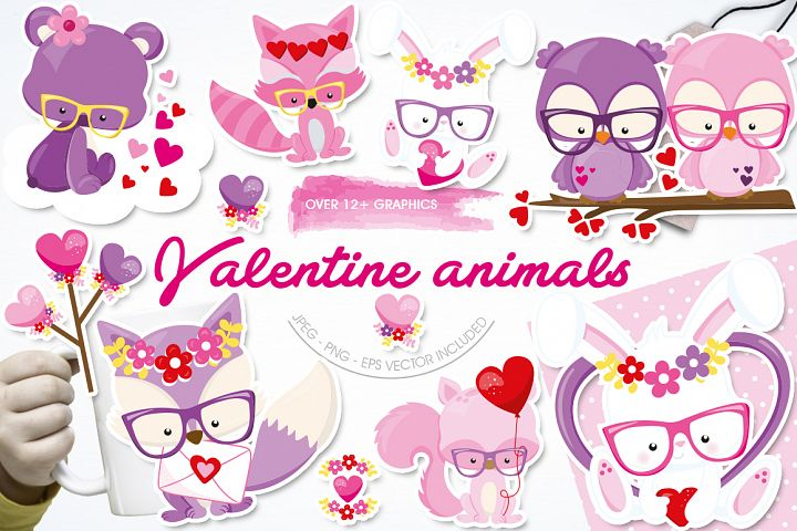 Valentines Animals Graphic and Illustrations