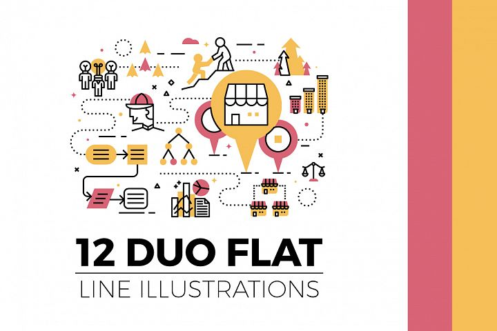 Flat Line Web Banner Illustration V2