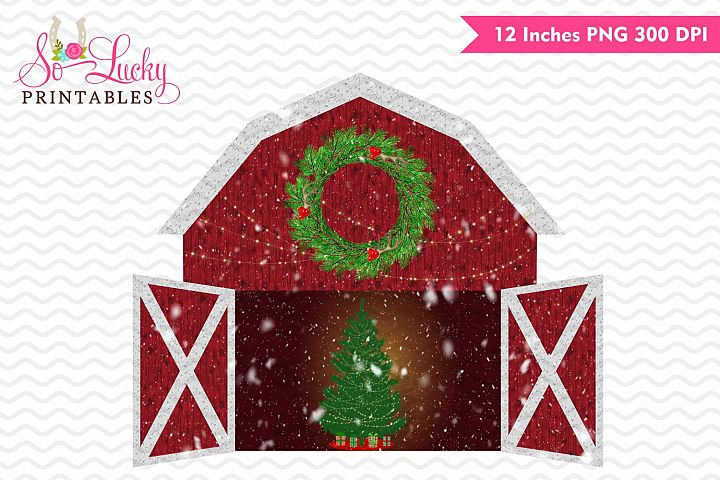 Country Christmas barn printable sublimation design