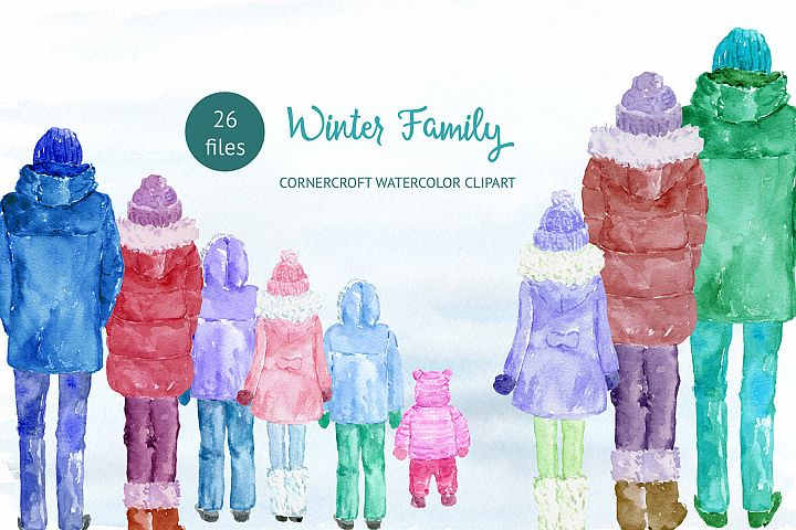 Watercolor winter family for instant download