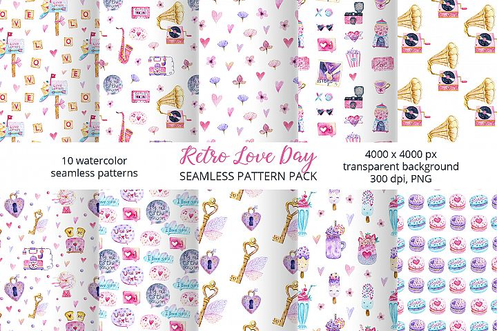 Valentine Day Pattern Set. Love Day patterns