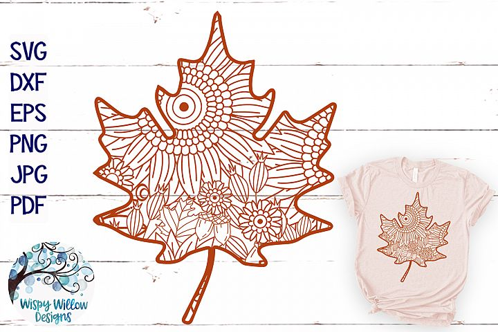 Fall Leaf Zentangle SVG|Thanksgiving SVG | Fall SVG Cut File