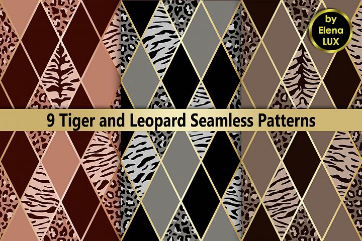 Tiger and Leopard Seamless Set