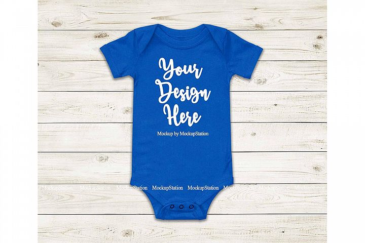 Baby Blue Bodysuit Mockup, Blank Newborn Toddler Tee Mock Up