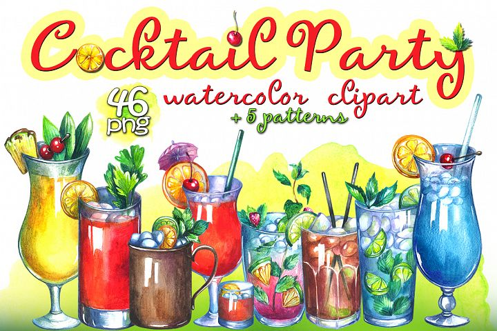 Cocktails watercolor clipart
