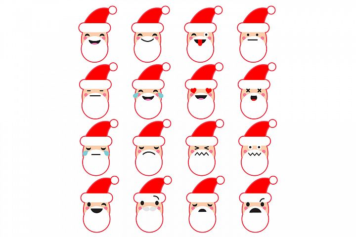 Collection of emotions of Santa Claus.