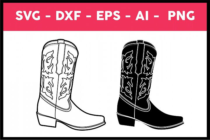 Cowboy Boot Illustration, vector, Svg, Png, Eps, Ai, dxf