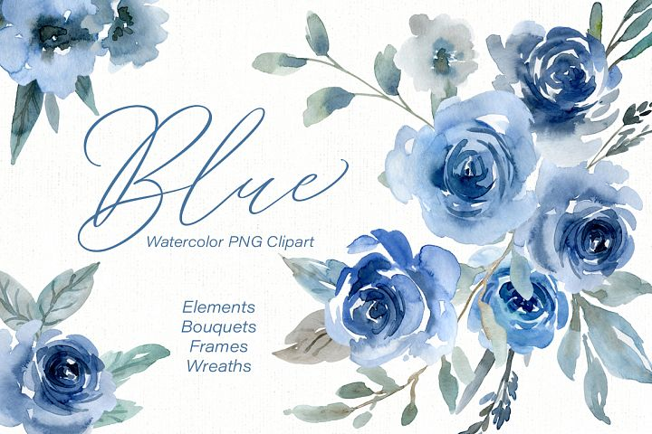 Blue Watercolor Flowers Roses, Bouquets, Frames, Wreaths