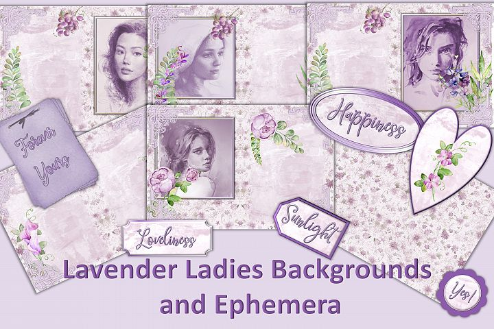 Water colour Lavender Ladies Backgrounds and Clipart