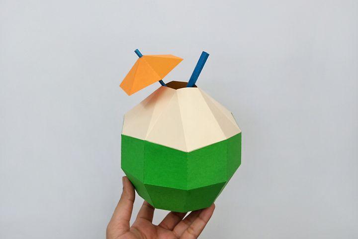 DIY Papercraft Coconut,Tropical party favor,Tropical party