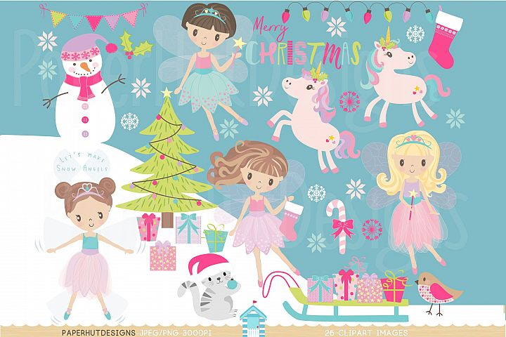 Christmas Fairy Clipart Set