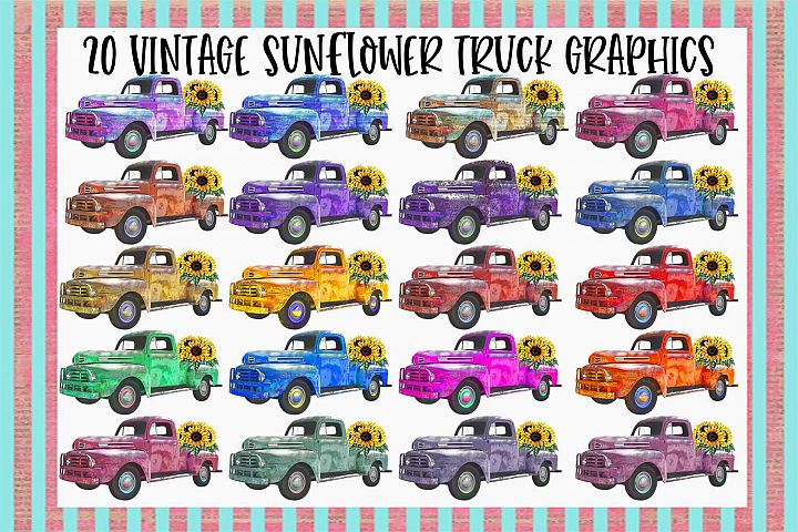 20 Vintage Sunflower Truck Graphics Bundle