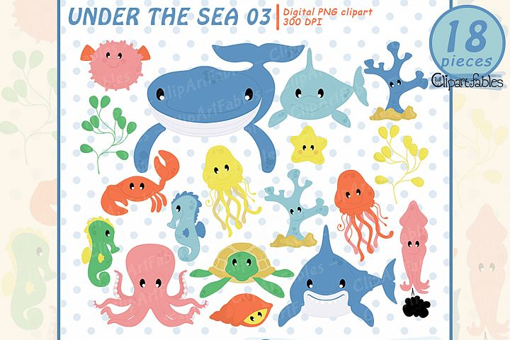 Fish clipart, Sea creature, Ocean life, instant download