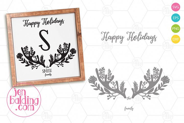 Winter Antler Monogram Sign SVG
