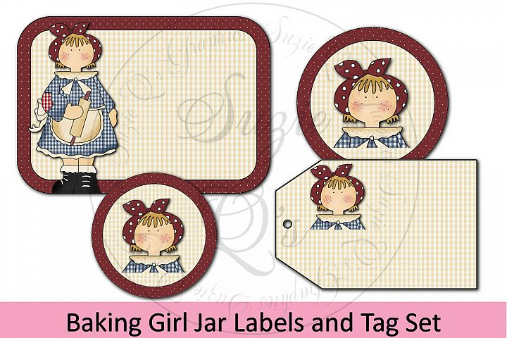 Baking Girl Jar Labels and Tag