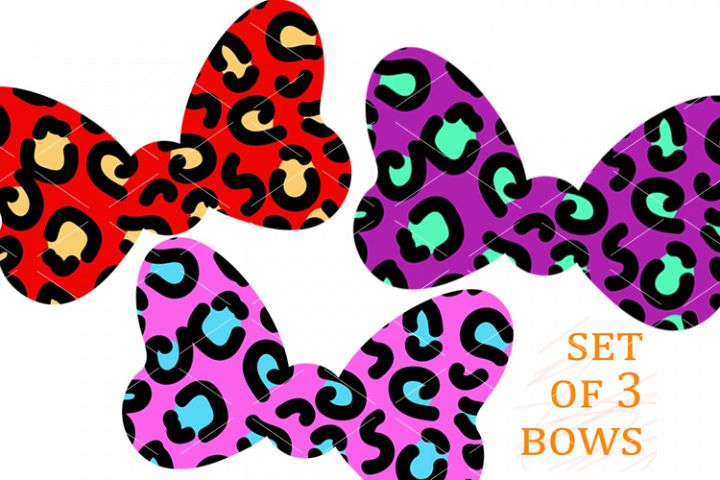 Leopard print bows Set of 3 prints Bow clip art Animals svg
